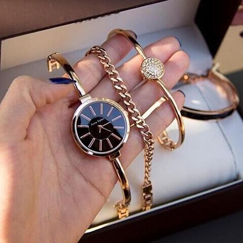 代购正品 Anne Klein 1470GBST  AK 时尚手镯金色女士套装手表