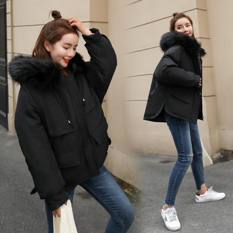 11韩版潮2018冬季新款羽绒棉服女短款宽松面包服小棉袄大毛领棉衣