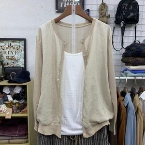 春秋季新款韩版女装宽松显瘦文艺纯色长袖亚麻拼接针织开衫外套女