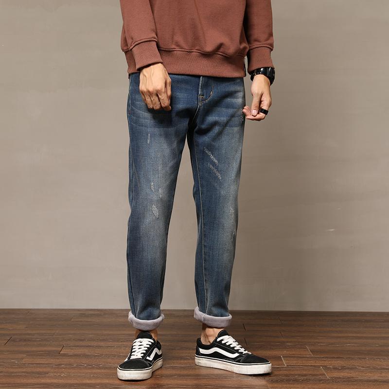 冬季牛仔裤男九分裤加绒加厚保暖长裤时尚潮流显瘦弹力哈伦小脚裤