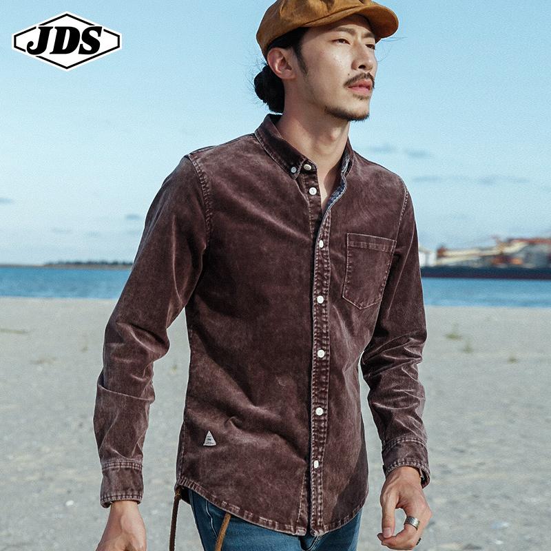 春款灯芯绒衬衫男长袖纯棉男装条绒衬衣外套男日系宽松休闲青年衫