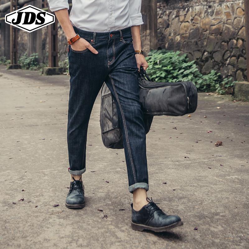 春秋季牛仔裤男黑色破洞弹力修身小脚九分日系修身直筒原色长裤潮