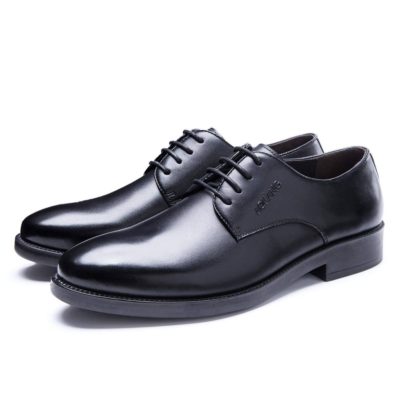 奥康男鞋 秋季新品正装皮鞋男真皮男士商务黑色系带皮鞋子 低帮鞋