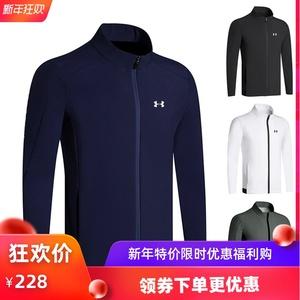 新款高尔夫服装加绒长袖风衣男户外运动夹克拉链外套休闲冬装上衣