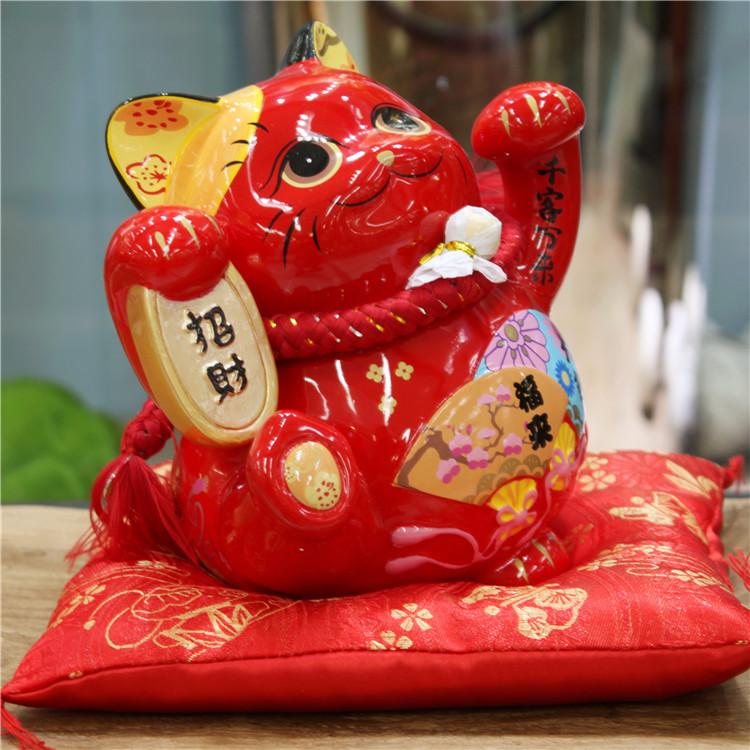 金石工坊 红色福来招财猫招财进宝风水猫乔迁开业储存罐摆件包邮