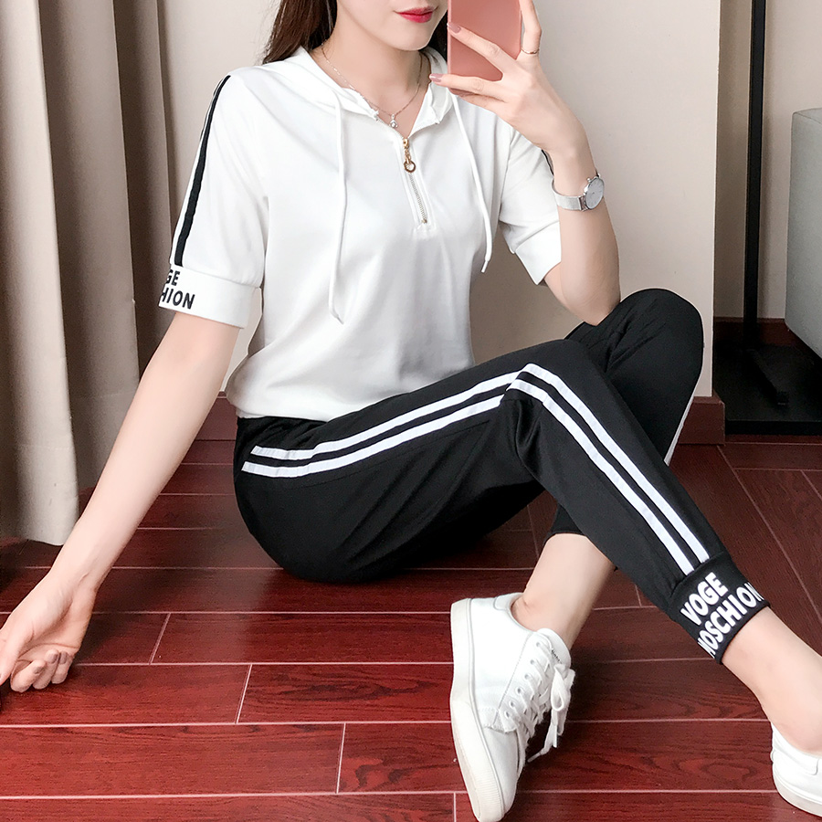 Sports Suit, Spring, Summer, Autumn, New Fashion, Casual Fashion, Half Sleeves, Two Piece Running, Skinny And Loose Korean Version.