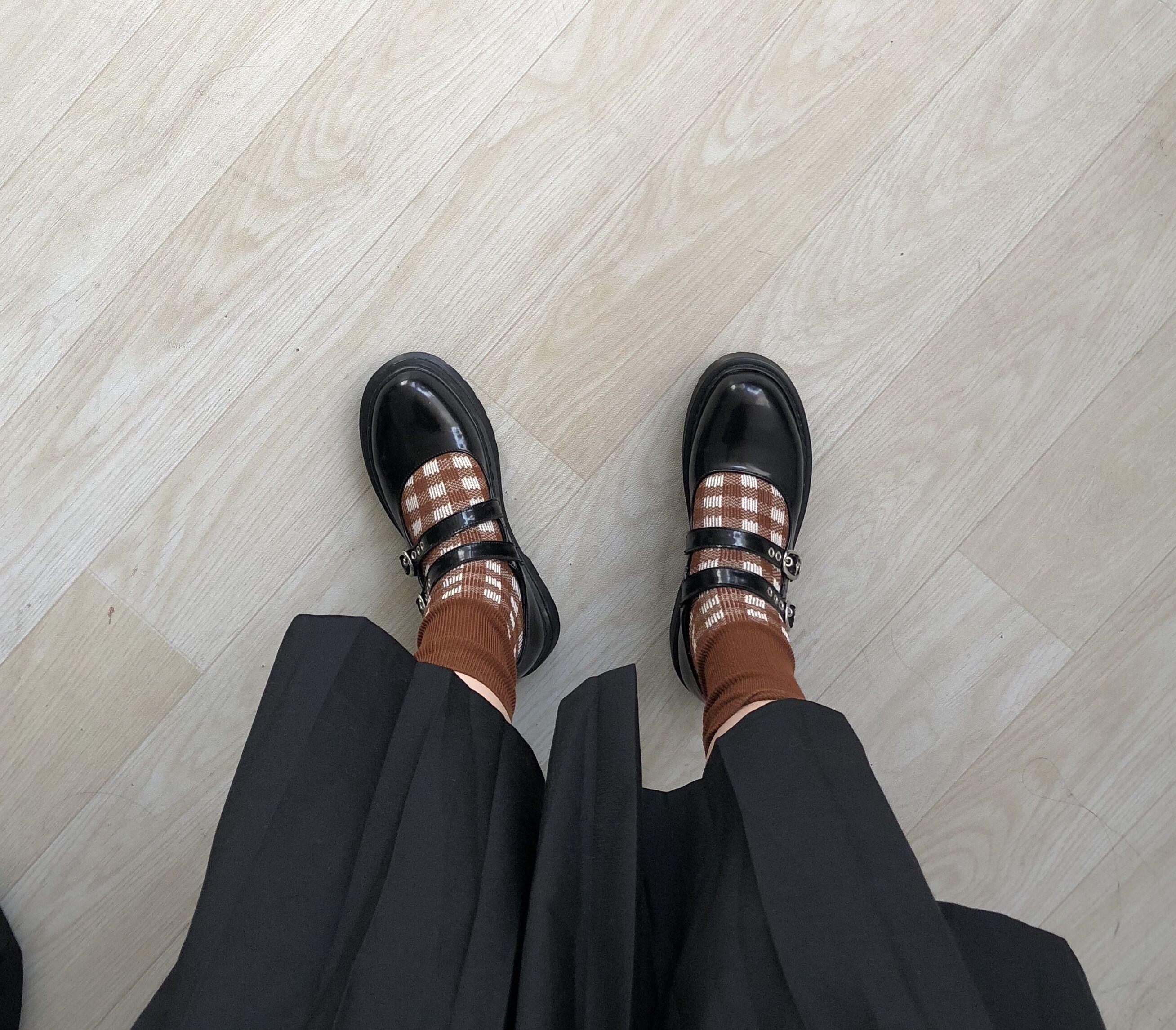 黑色复古头层开边珠牛皮玛丽珍鞋女学院风小皮鞋女