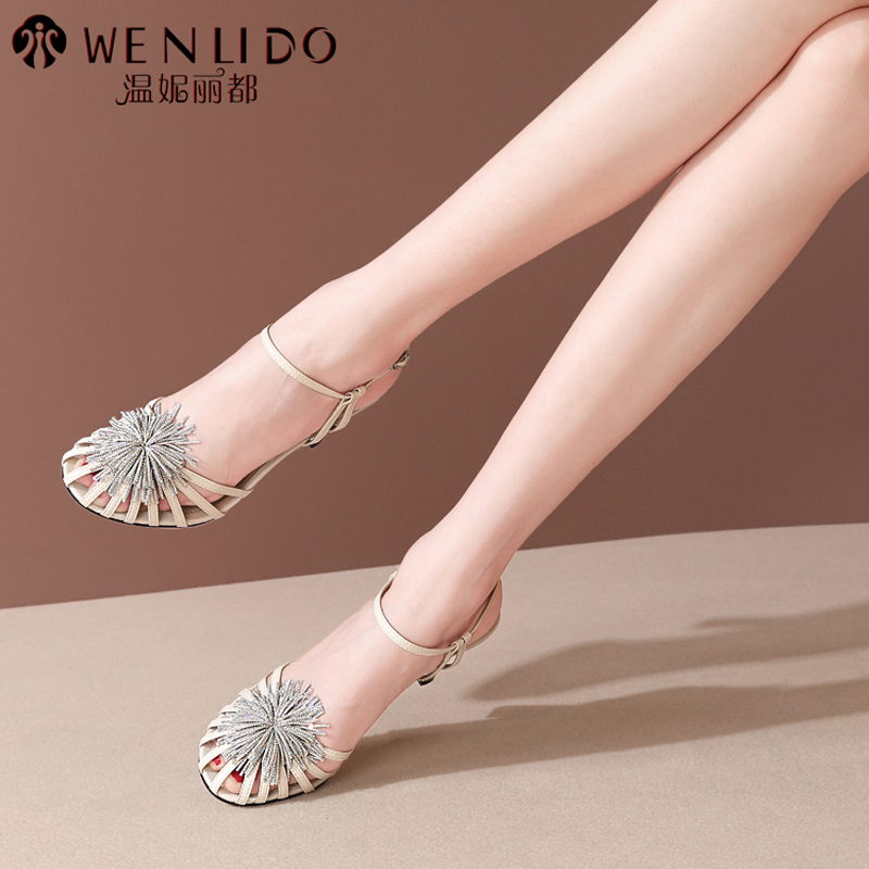 Sandal girl 2021 new summer high heeled shoes French leather Baotou thick heel Roman Rhinestone Flower Fairy style
