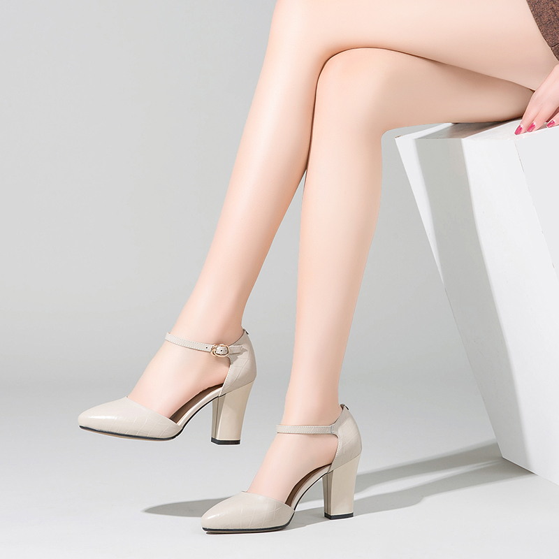 Sandals womens new leather thick heel 2021 summer high heel shoes versatile Baotou pointed sexy fairy students