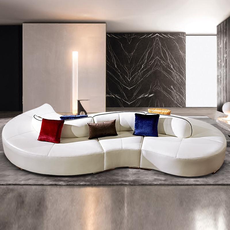弧形皮艺沙发时尚个性真皮沙发简约商业现代办公组合创意接待家具
