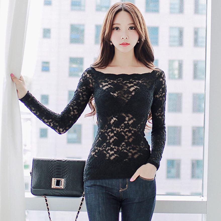 韩版秋装新款2019气质名媛蕾丝打底衫女长袖 露肩一字领镂空上衣