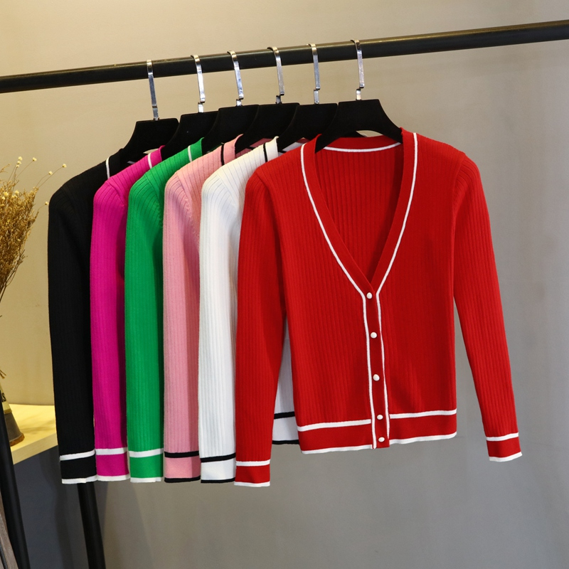 2018春秋女空调衫条纹V领针织衫披肩外搭开衫大码薄毛衣短款外套
