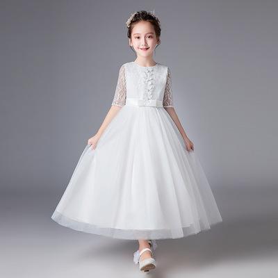 女孩连衣裙夏季女童短袖白色公主裙12-13岁中大童网纱裙子15礼服