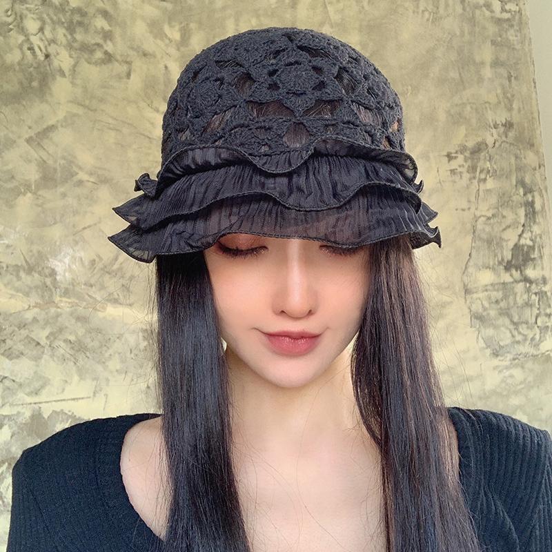 suzzi 手工编织荷叶边蕾丝镂空包头帽木耳花边纯棉线帽渔夫帽盆帽