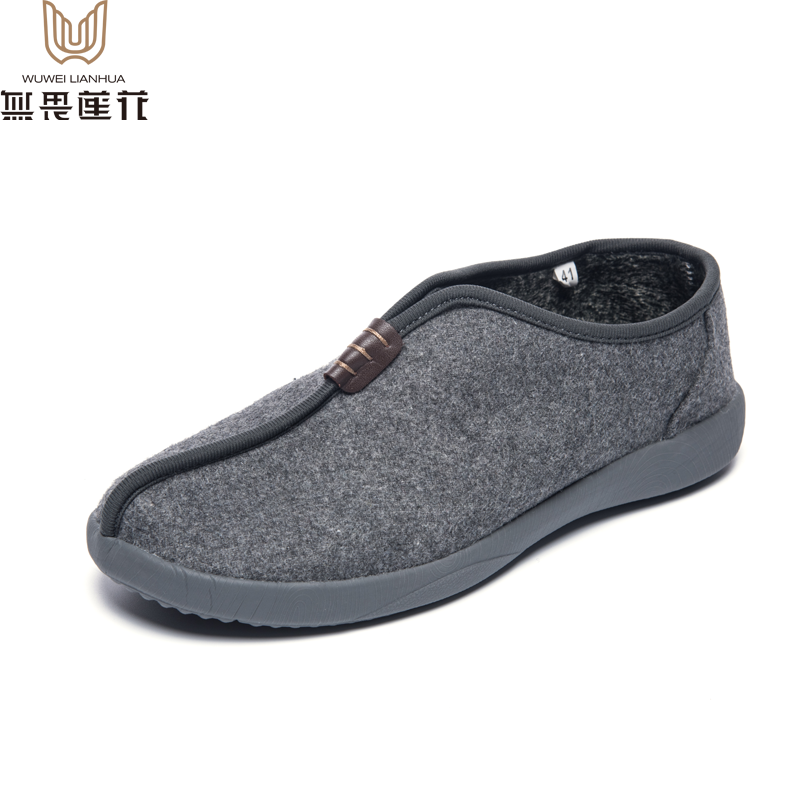 Fearless lotus winter warm low top monk shoes Plush lightweight super soft antiskid monk shoes