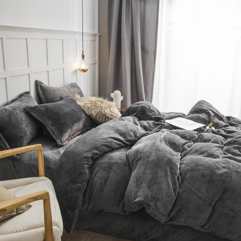 Coral fleece four piece set thickened flannel quilt cover bed sheet bedspread grey winter warm double faced down bedding