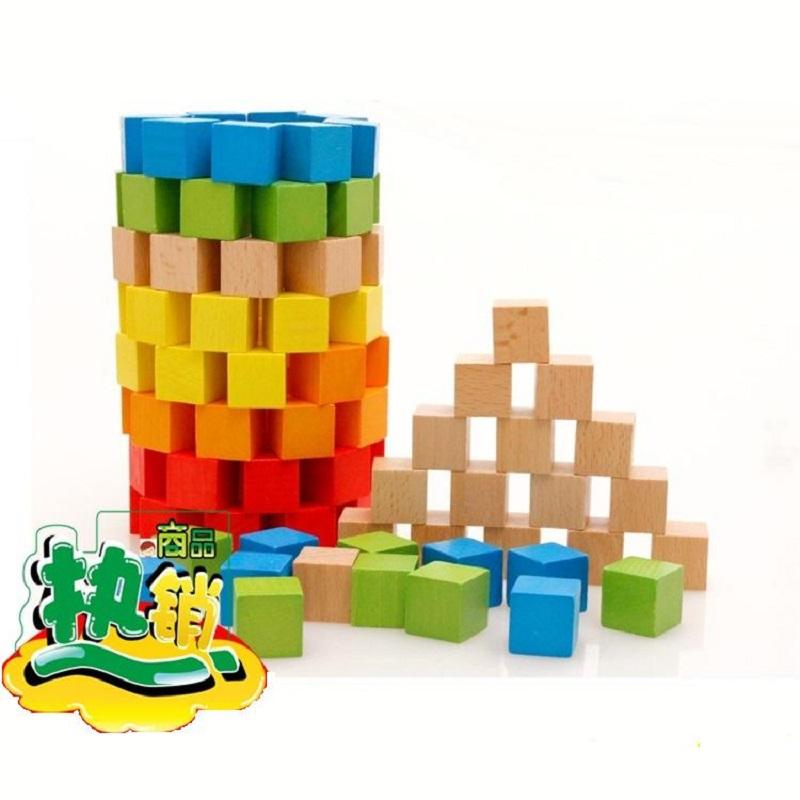 有赠品正方形100粒积木1-6厘米正方体原木色数学方块蒙氏教具立方体教具