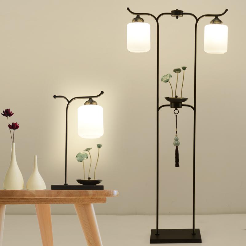 新中式卧室落地灯禅意立式灯铁艺客厅台灯沙发角几台灯床头灯