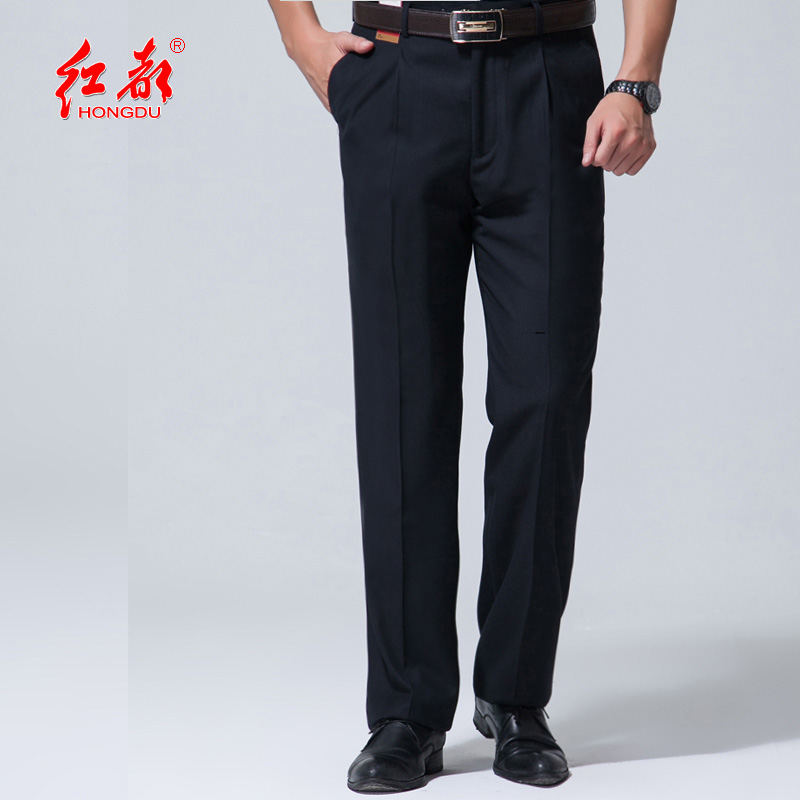 Hongdu summer thin mens business leisure trousers high waist straight mens trousers formal mens solid color trousers non iron