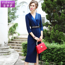 Fei Mengyi Suit Dress Female Early Autumn New Gentle Style Goddess Fan V Received Mid-length Skirt with Open and Forked Waist