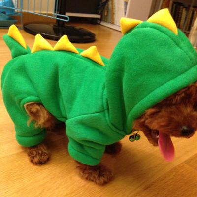可爱爆萌宠物恐龙变身装泰迪狗衣服秋冬加厚狗棉衣宠物衣服四脚衣