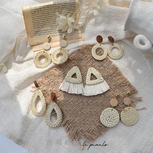 手工草藤編織耳環民族風度假風夏季海邊沙灘耳釘波西米亞耳飾耳夾