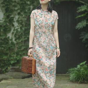 念江南复古女装新款改良旗袍连衣裙2019夏中国风显瘦宽松