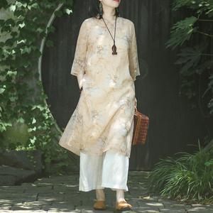 念江南宽松棉麻女装新式旗袍连衣裙改良夏季苎麻禅意文艺复古茶服