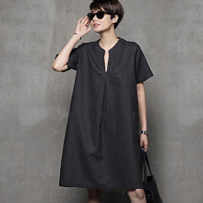 高端苎麻女装夏季新款原创设计师宽松简约短袖休闲亚麻棉麻连衣裙