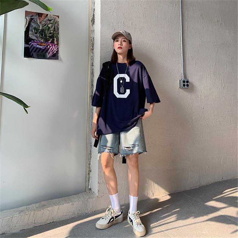 牛仔短裤女2020夏季新款韩版宽松高腰显瘦百搭直筒阔腿破洞五分裤