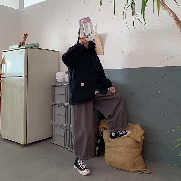 满6元可用5元优惠券工装衬衫两件套女2019新款百搭宽松长袖衬衣高腰直筒阔腿裤子套装