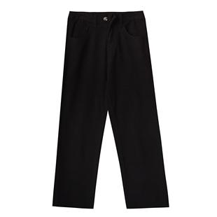 杏色褲子女2020新款韓版學生百搭寬鬆高腰顯瘦休閒闊腿直筒牛仔褲