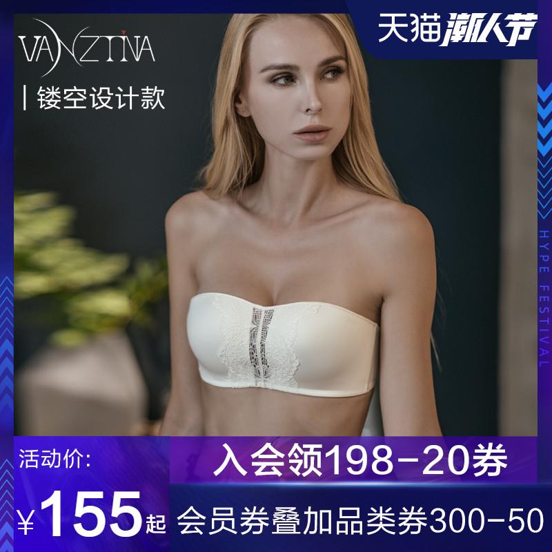 芬斯狄娜抹胸式文胸无带收副乳夏薄款聚拢防走光bra无肩带内衣女