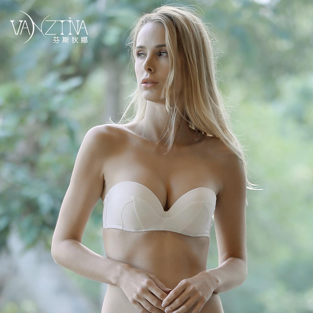 11-22新券芬斯狄娜无肩带款文胸上薄下厚女上托聚拢防滑内衣可拆卸性感胸罩
