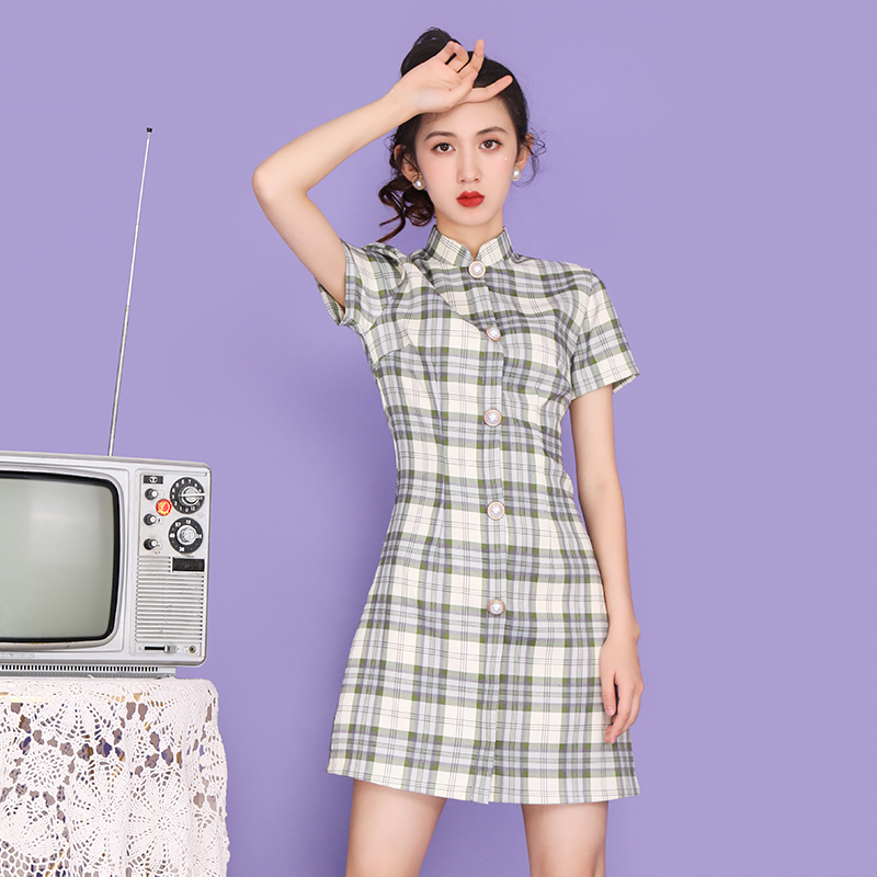 8170 French cheongsam Plaid young retro girl student summer short modified dress