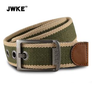 JWKE男士针扣帆布腰带男青年皮带 休闲百搭时尚潮流简约牛仔裤带价格