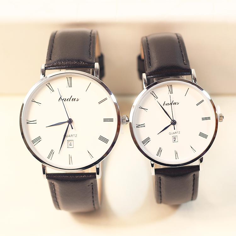 Ultra thin Roman digital calendar belt lovers watch a pair of Korean leisure mens quartz watch womens student Watch