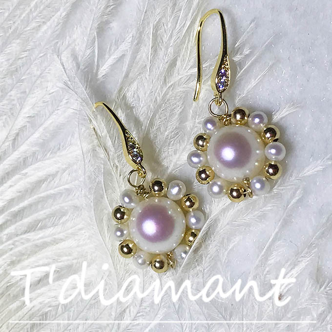 [tdiamant] 14K Gold covered natural retro classic wreath rare pink Transparent Pink Pearl Earrings