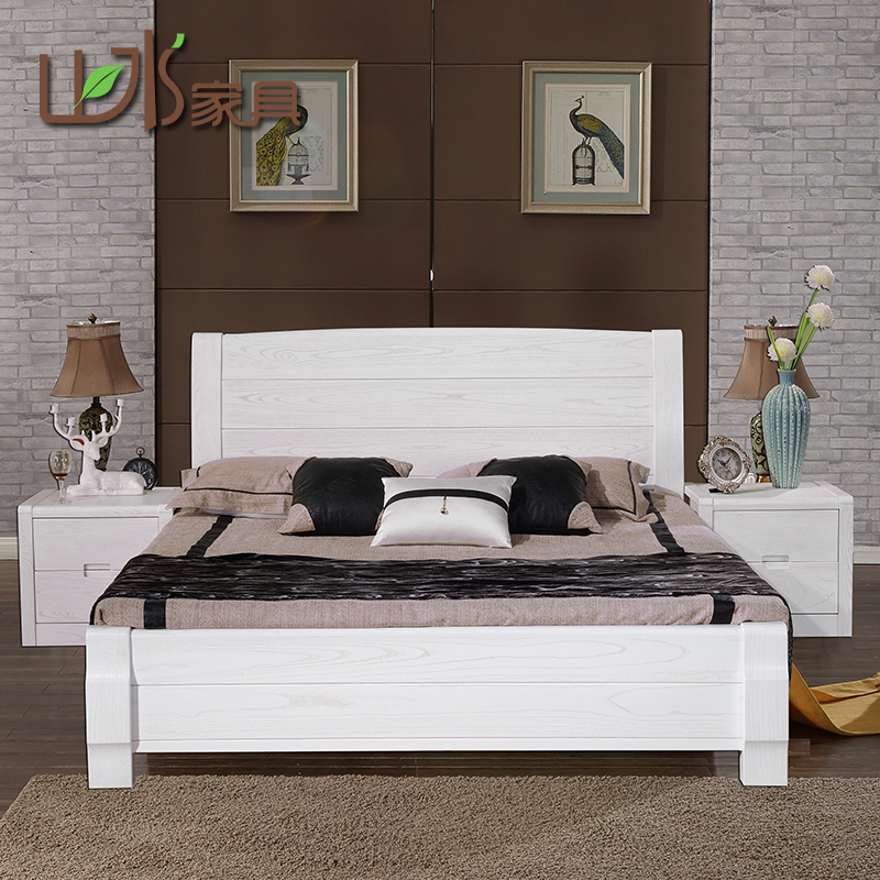 Ash white solid wood bed 1.8m double bed master bedroom modern simple open lacquer high box storage wedding bed
