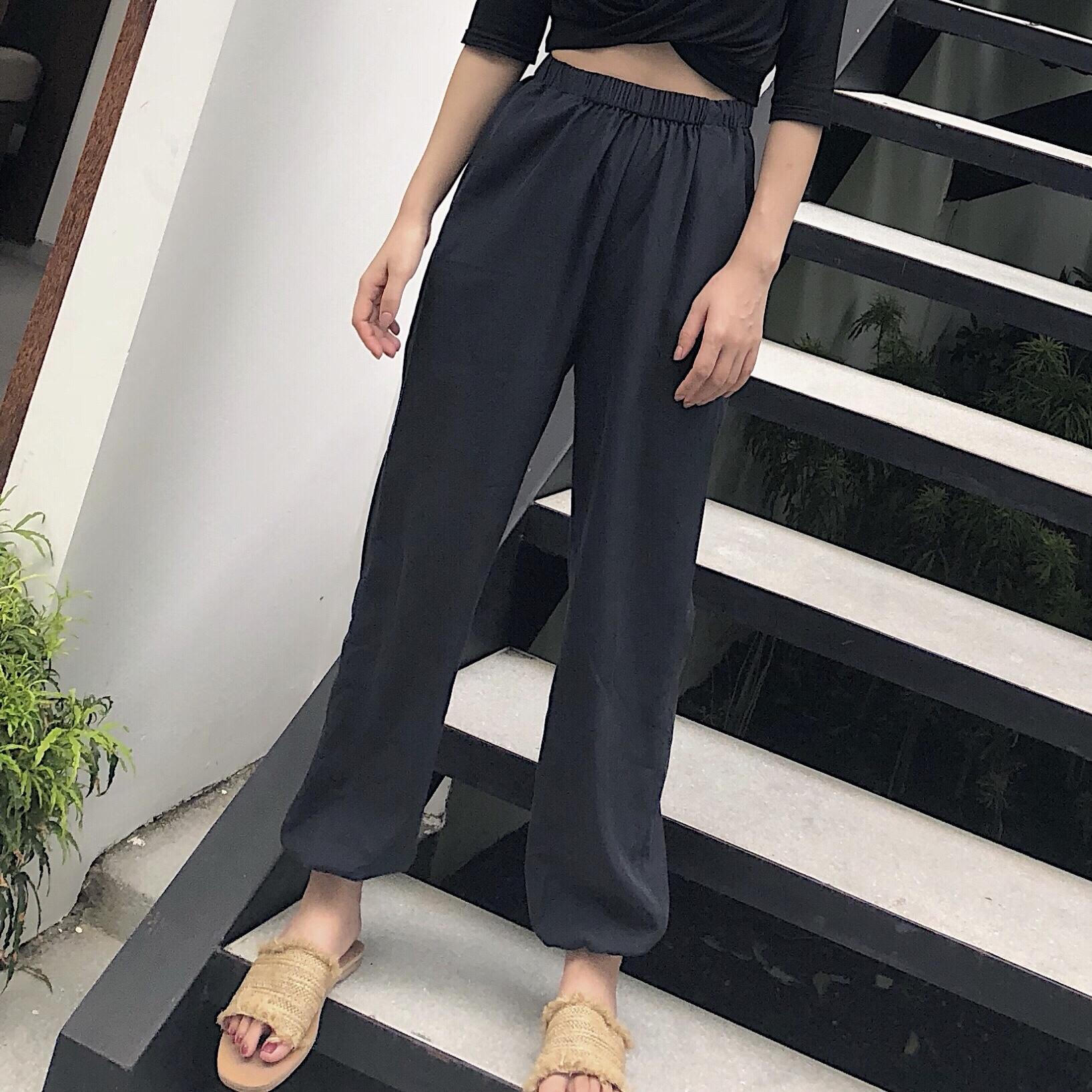 CIBABY大c自制 设计款莫代尔高腰显瘦松紧腰萝卜裤休闲长裤