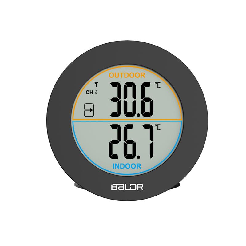 易美特の新型の室内の外で無線の温度計の家庭用電子のデジタルの温度計の高精度の簡単な円形