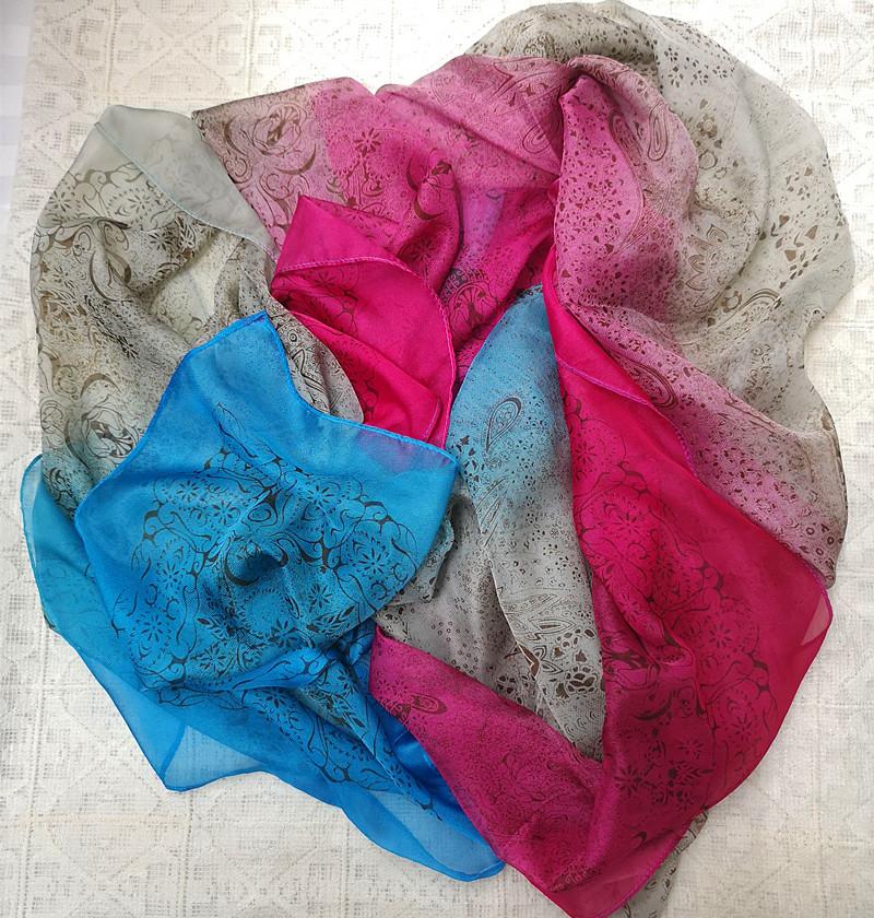 四季百搭女士仿真丝大丝巾印花渐变 长方形 围巾