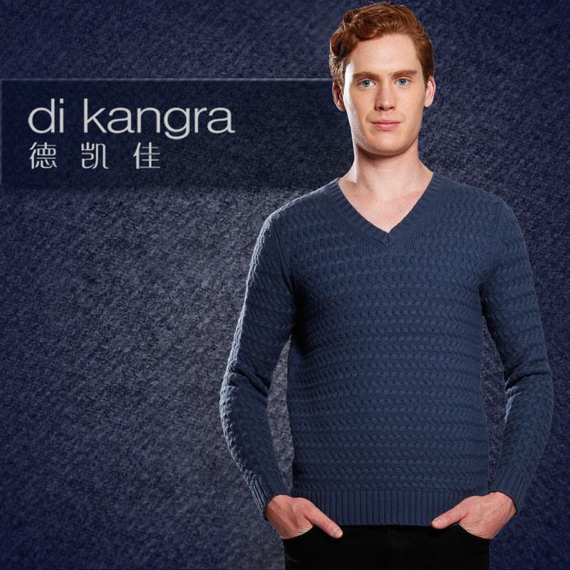 Dekaijia genuine cashmere sweater long sleeve Pullover V-neck blended jacquard sweater mens autumn fashion