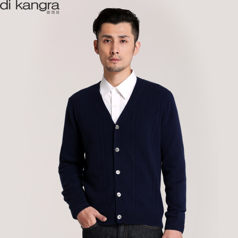 Di Kangra / dekaijia autumn and winter mens cashmere sweater business leisure V-neck cardigan knitted sweater