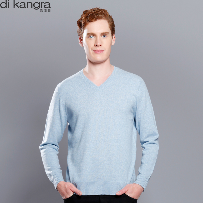 Dekaijia mens cashmere sweater 100% pure cashmere sweater mens long sleeve V-Neck Sweater warm sweater top