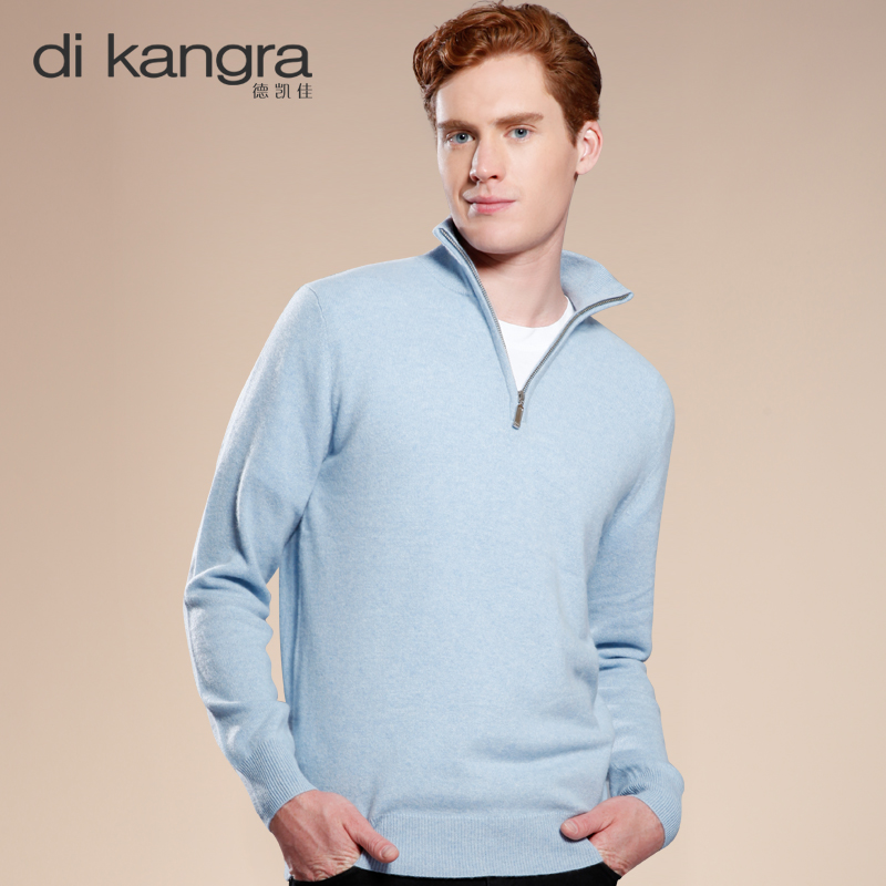 Dekaijia authentic 100% pure cashmere sweater mens half open collar long sleeve Pullover Sweater warm sweater for men