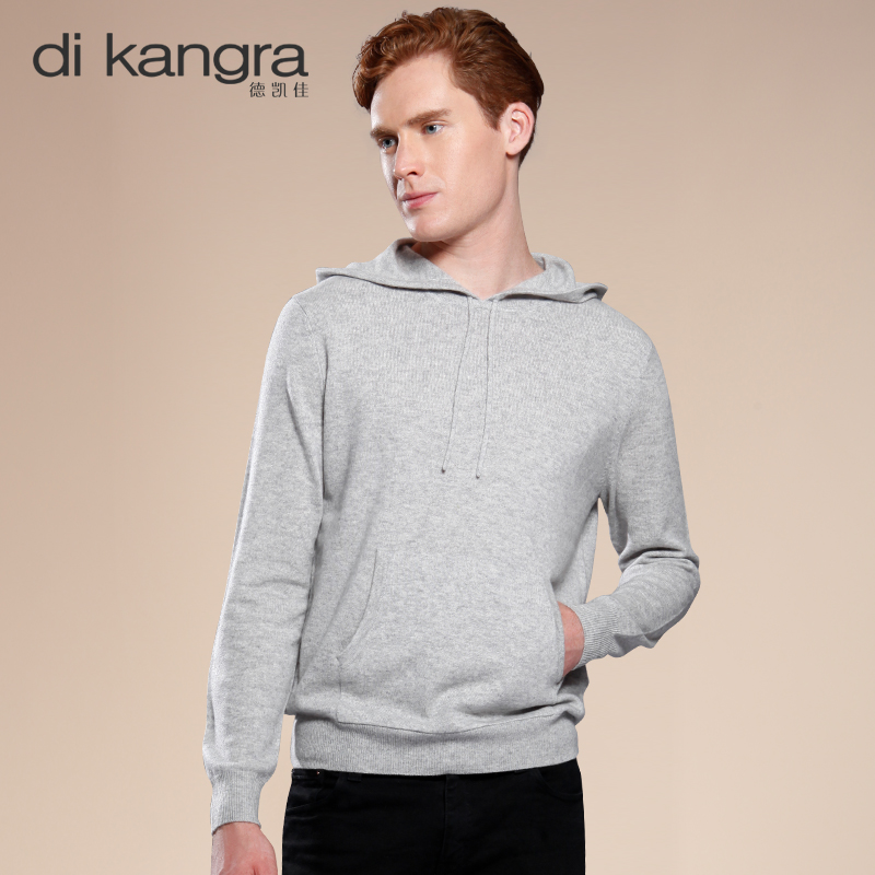 Dekaijia cashmere sweater mens Pullover Hooded Crew Neck Sweater loose casual T-shirt autumn and winter boutique mens wear