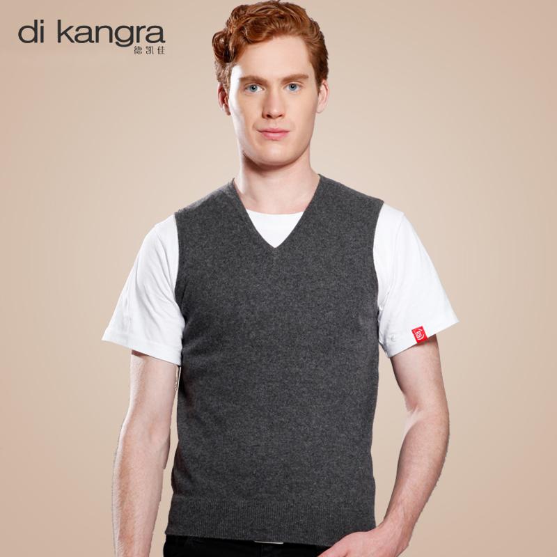 Di Kangra / dekaijia autumn casual mens 100% pure cashmere V-neck bottomed sweater cashmere vest mens