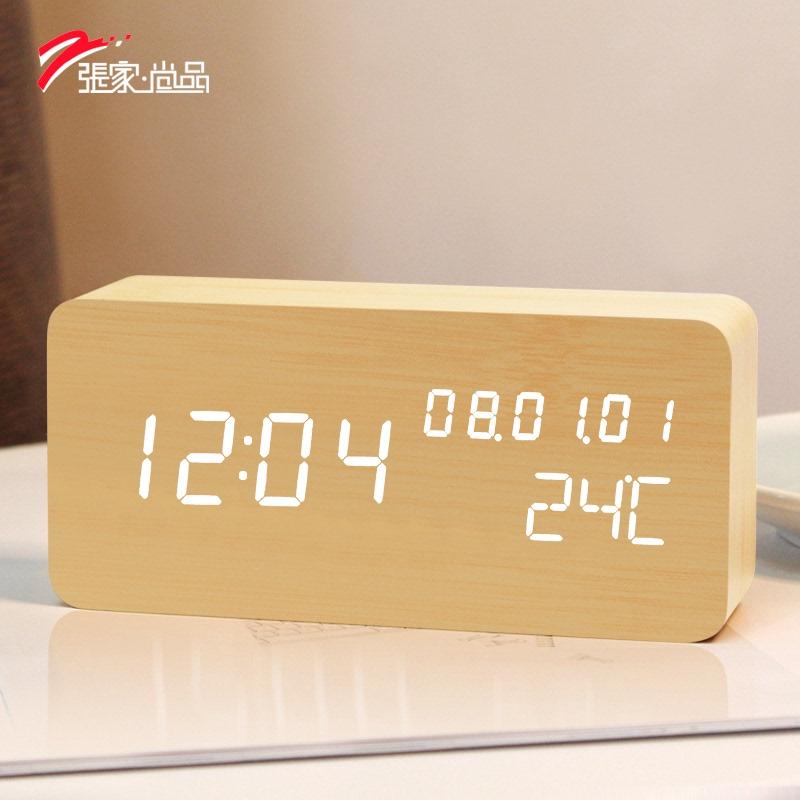 创意木质闹钟LED静音电子钟创意时尚床头钟客厅座钟摆件夜光时钟 Изображение 1