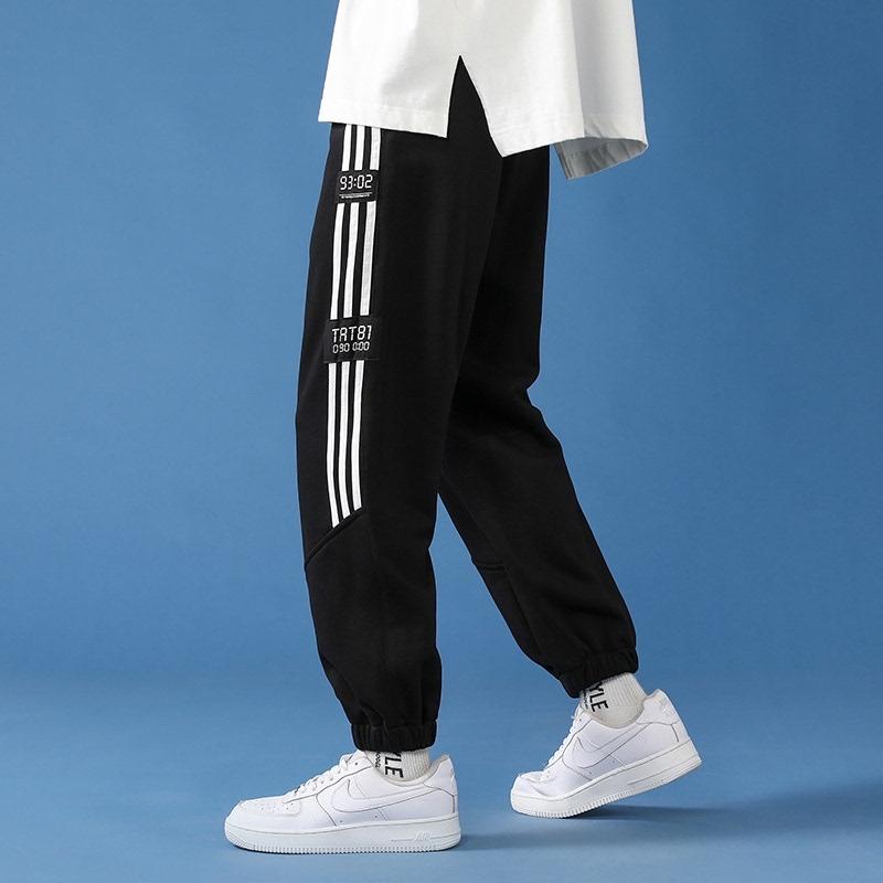 Ins trend pants mens autumn straight tube casual loose stripe closure Leggings mens Sweatpants